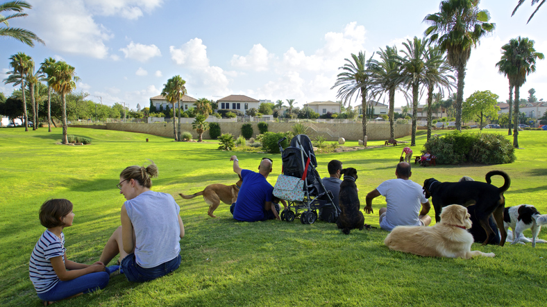 Dog owners in Wingate Dog Park in Herzliya Pituach, Israel